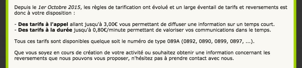 tarif numéros surtaxés
