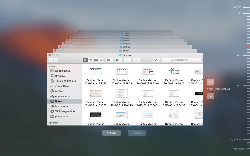 Récupération de fichiers perdus avec Time Machine