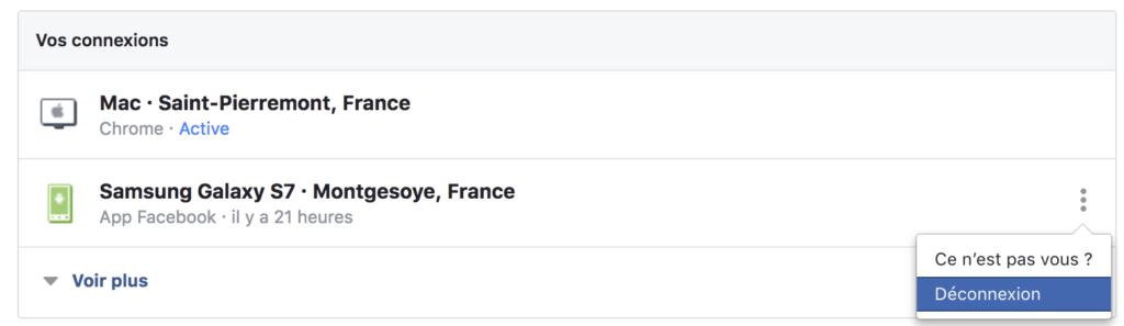 facebook voir périphériques connectés